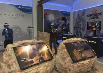 Diseño decoración presentación de los videojuesgos Starblood Arena y Farpoint Rojo Pistacho 6